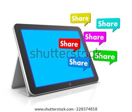 share and tablet 3d , like, social media - stock photo