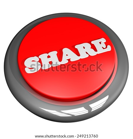 Share button isolated over white, 3d render - stock photo