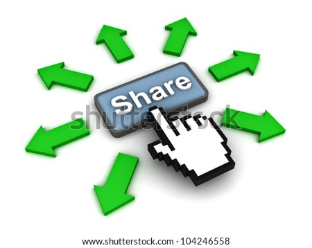 Share button with green arrows on white background - stock photo