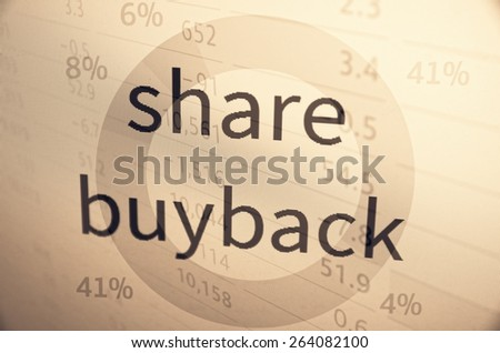 Share buyback, is a company's buying back its shares from the marketplace. - stock photo