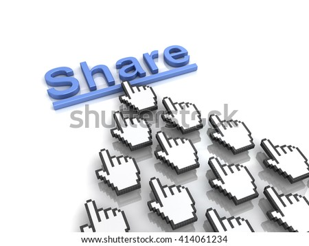 Share concept many hand cursors mouse clicking share button or link on white background with reflection. 3D rendering. - stock photo