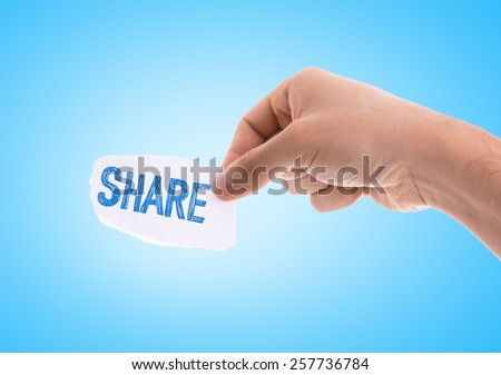 Share piece of paper with blue background - stock photo