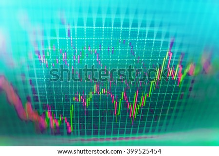 Share price candlestick chart. Stock market chart, graph on blue background. Stock market graph on the screen. Stock exchange graph. Stock market graph and bar chart price display.   - stock photo