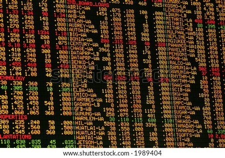 Share prices quoted on an electronic board.