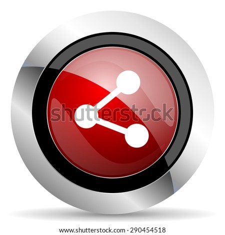 share red glossy web icon  original modern metallic and chrome design for web and mobile app on white background   - stock photo