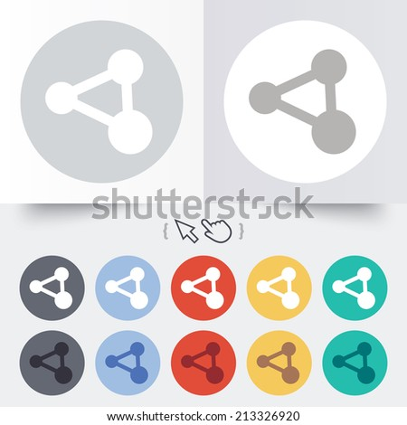 Share sign icon. Link technology symbol. Round 12 circle buttons. Shadow. Hand cursor pointer. - stock photo