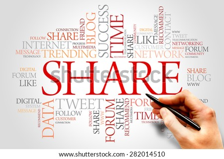 Share word cloud, business concept - stock photo