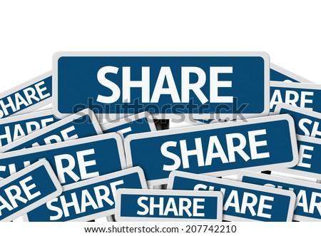 Share written on multiple blue road sign - stock photo