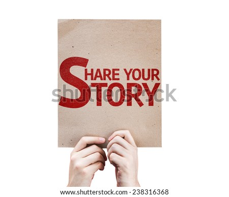 Share Your Story card isolated on white background - stock photo