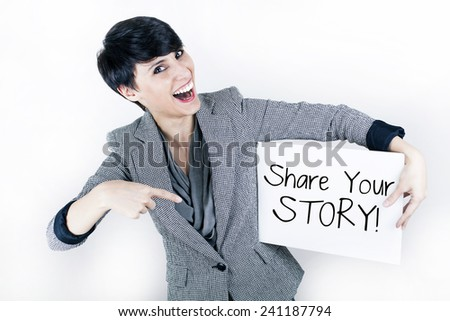 Share Your Story Message - stock photo