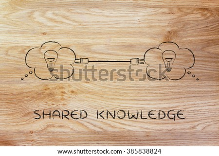 shared knowledge: thought bubbles with lightbulb connected with a plug - stock photo