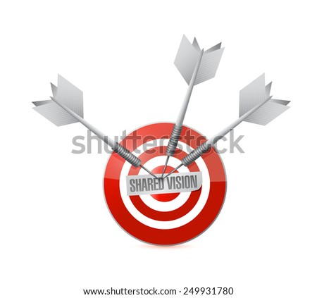 shared vision target illustration design over a white background - stock photo