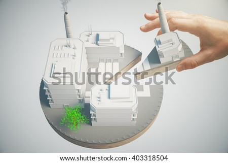 Shareholder concept with male hand taking piece of business pie. 3D Rendering - stock photo