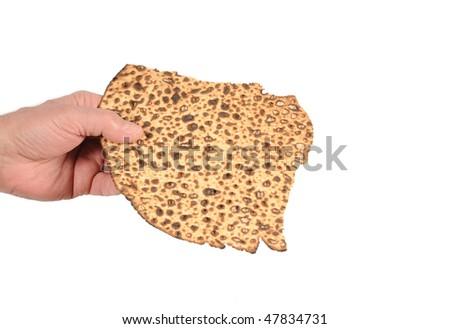 Sharing a piece of matzo. - stock photo