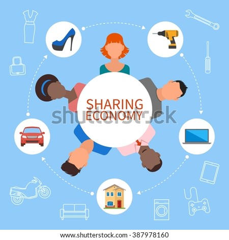 Sharing economy and smart consumption concept. Illustration in flat style. People save money and share resources. - stock photo