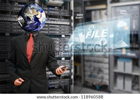 Sharing file in data center room : Elements of this image furnished by NASA - stock photo