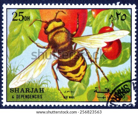 SHARJAH AND DEPENDENCIES - CIRCA 1972: stamp printed by Sharjah and Dependencies, series insects circa 1972