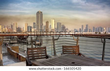 Sharjah city view from Corniche, UAE - stock photo