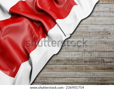 Sharjah Flag with horizontal wood - stock photo