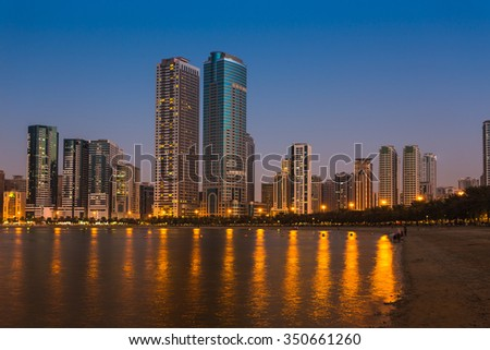 SHARJAH, UAE - NOVEMBER 01, 2013: General view of modern buildings in Sharjah. It is the most industrialized emirate in UAE.