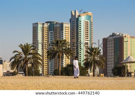 SHARJAH, UAE - NOVEMBER 01, 2013: General view of modern buildings in Sharjah. It is the most industrialized emirate in UAE. - stock photo