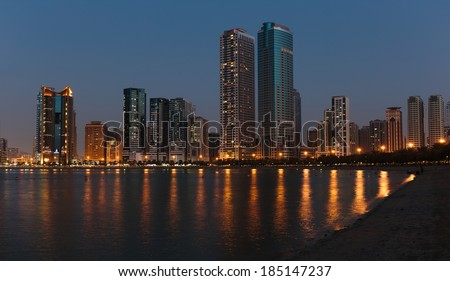 SHARJAH, UAE - NOVEMBER 01: Night view of Sharjah, on November 01, 2013. Sharjah is located along northern coast of Persian Gulf on Arabian Peninsula