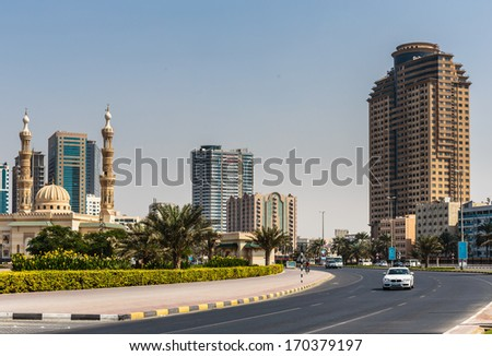 SHARJAH, UAE - OCTOBER 29, 2013: A general view of the waterfront of Sharjah UAE. It is the most industrialized emirate in UAE.