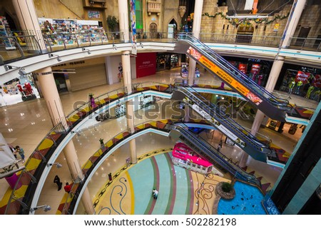 SHARJAH, UAE - OCTOBER 29, 2013: Central Souq Mega Mall of Sharjah opened on December 2001 and becoming one of leading retail and leisure destinations in UAE ( at 800,000 sq. ft.)