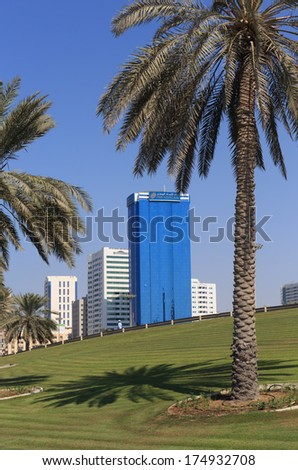 SHARJAH, UAE - OCTOBER28, 2013: Sharjah - general view. Sharjah is located along northern coast of Persian Gulf on Arabian Peninsula