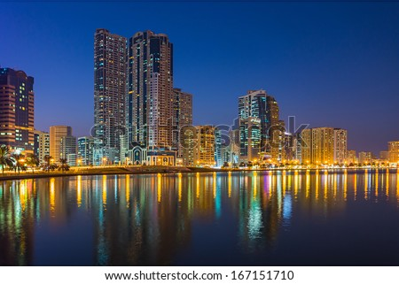 SHARJAH, UAE - OCTOBER 28: Sharjah - third largest and most populous city in United Arab Emirates, on October 28, 2013.  It is the most industrialized emirate in UAE.