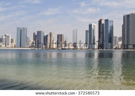 SHARJAH, United Arab Emirates- Feb 03: Morning view of Sharjah, on Feb 03, 2016. Sharjah is located along northern coast of Arabian Gulf