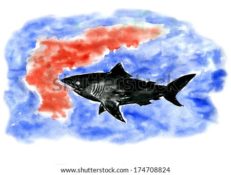 shark and blood, watercolor  - stock photo