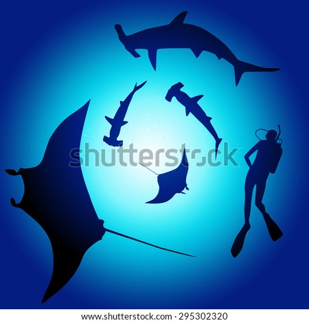 Shark and diver, swimming with sharks - illustration - stock photo