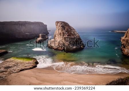 Shark Fin Rock, California. - stock photo