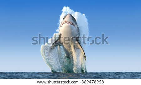 Shark jumps out of the water - stock photo