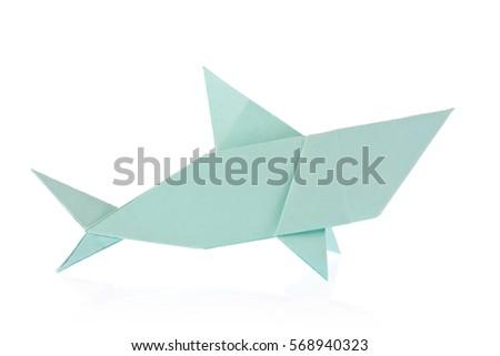 Shark Origami Isolated On White Background Stock Photo Royalty Free