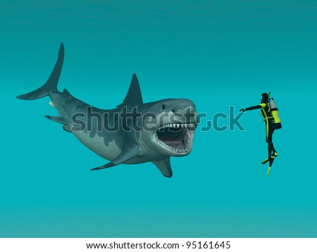 Shark Up Close Computer generated 3D illustration - stock photo