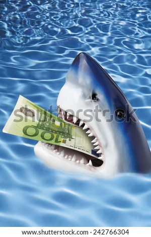 Shark with 100 euro note in mouth. - stock photo