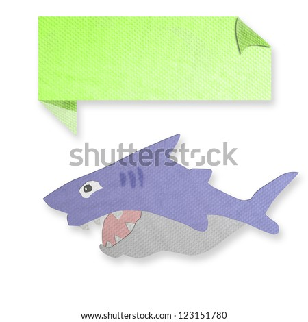 shark with text box made from tissue paper-craft - stock photo