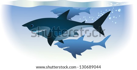 Sharks are swimming in deep water. Raster image. Find an editable version in my portfolio. - stock photo