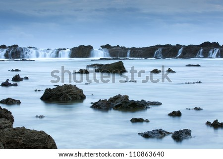 Sharks cove long exposure on north shore of hawaii - stock photo