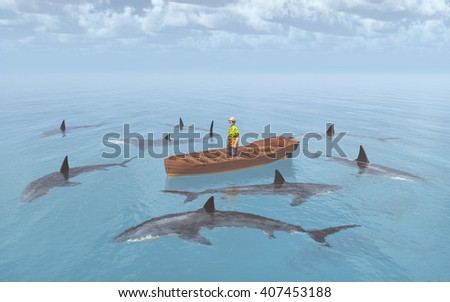 Sharks surround a man in a boat Computer generated 3D illustration