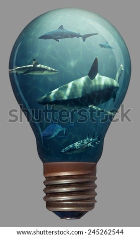 Sharks swimming around in a lightbulb