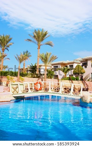 Sharm El Sheikh - CIRCA NOVEMBER 2013: Egyptian hotel resort and spa view with blue sky