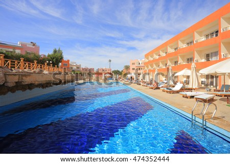 SHARM EL SHEIKH, EGYPT - DECEMBER 21, 2014: Outdoor swimming pool at resort in Egypt