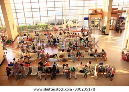 Sharm El Sheikh, EGYPT â?? JUNE 12: waiting room at the airport on JUNE 12, 2015, in Sharm El Sheikh, Egypt - stock photo