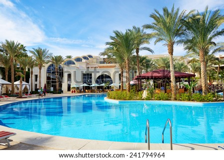 SHARM EL SHEIKH, EGYPT -  NOVEMBER 30: The tourists are on vacation at luxury hotel on November 30, 2012 in Sharm el Sheikh, Egypt. Up to 12 million tourists have visited Egypt in year 2012.