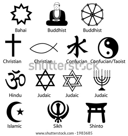 Sharp clean render, symbols make excellent icons. Is Comparative Religion your subject? Syncretist? Polytheist? Your Symbols Of Contemporary World Religions are ready. - stock photo