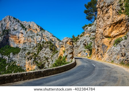 Sharp mountain highway. The largest alpine canyon Verdon, Provence, France - stock photo