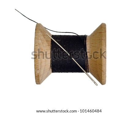 sharp needle and black thread - stock photo